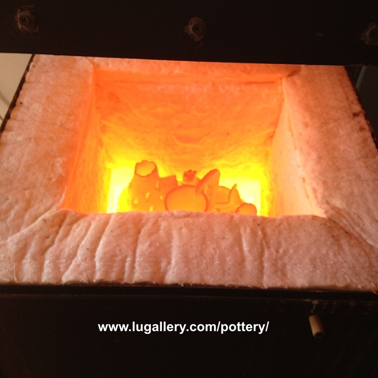 My pottery fired in a furnace made ​​my own. Around 1000°C  http://www.lugallery.com/pottery/