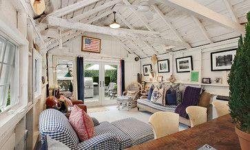 East Hampton Village Barn Americana living room - James McAdam Design | Houzz