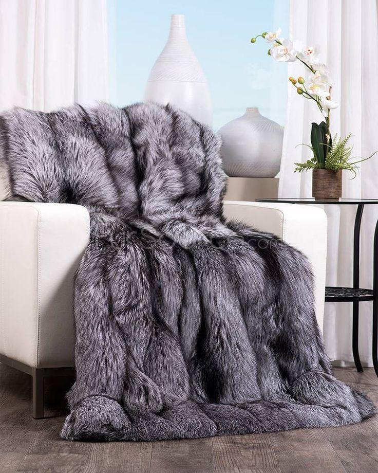 Silver fox fur blanket - FurSource