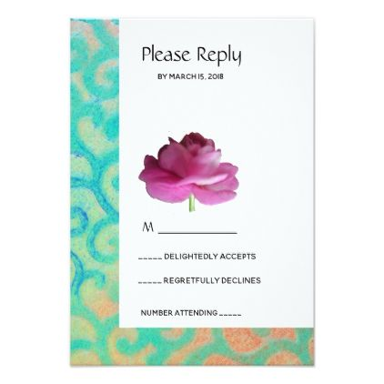 Bright contemporary floral wedding RSVP reply card - invitations personalize custom special event invitation idea style party card cards