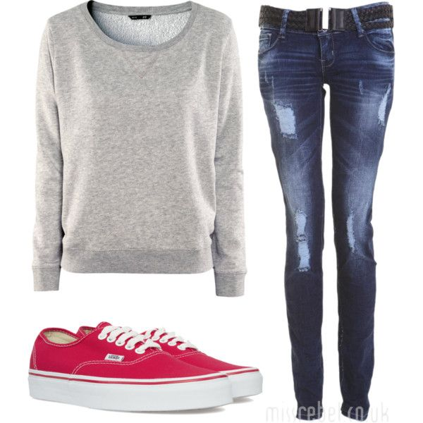 H Sweatshirt, Allover Rip Black Belt Skinny Fit Jean, Vans Authentic Vn-0ee3red