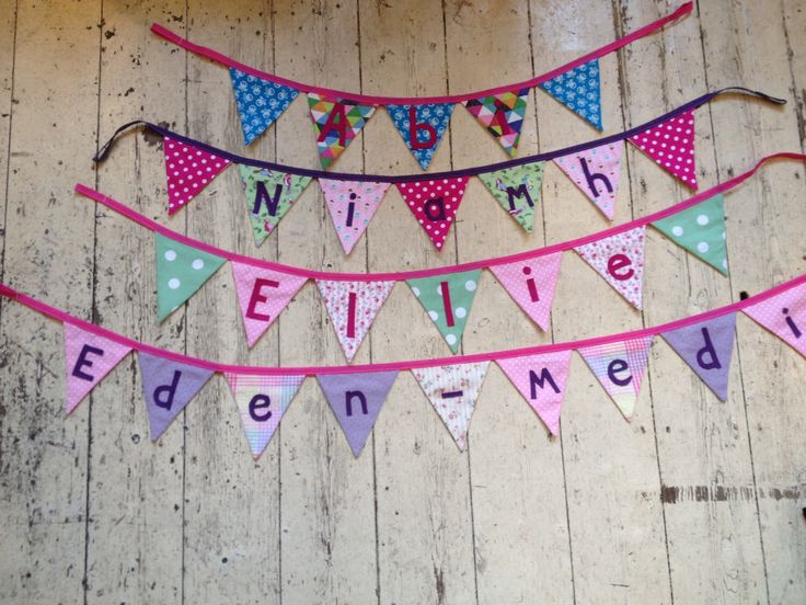 PERSONALISED BUNTING - Small flags by SewingBeanDesigns on Etsy https://www.etsy.com/listing/256086904/personalised-bunting-small-flags