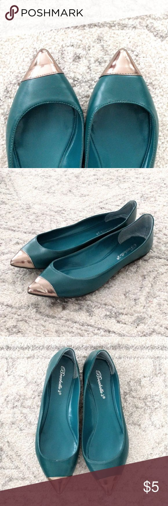 Pretty teal flats Literally worn once to a party for a few hours and in excellent condition!  Comes with box.    Size 8.5.  Great pop of color!  Price is firm because it's so low.  Add to a bundle to save 10% today! Breckelles Shoes Flats & Loafers