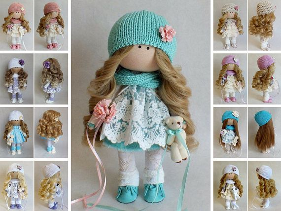 Muñecas Tilda doll Bambole Rag doll Soft doll Poupée Art doll Fabric doll Handmade doll Puppen Textile doll Green doll Baby doll by Oksana G
