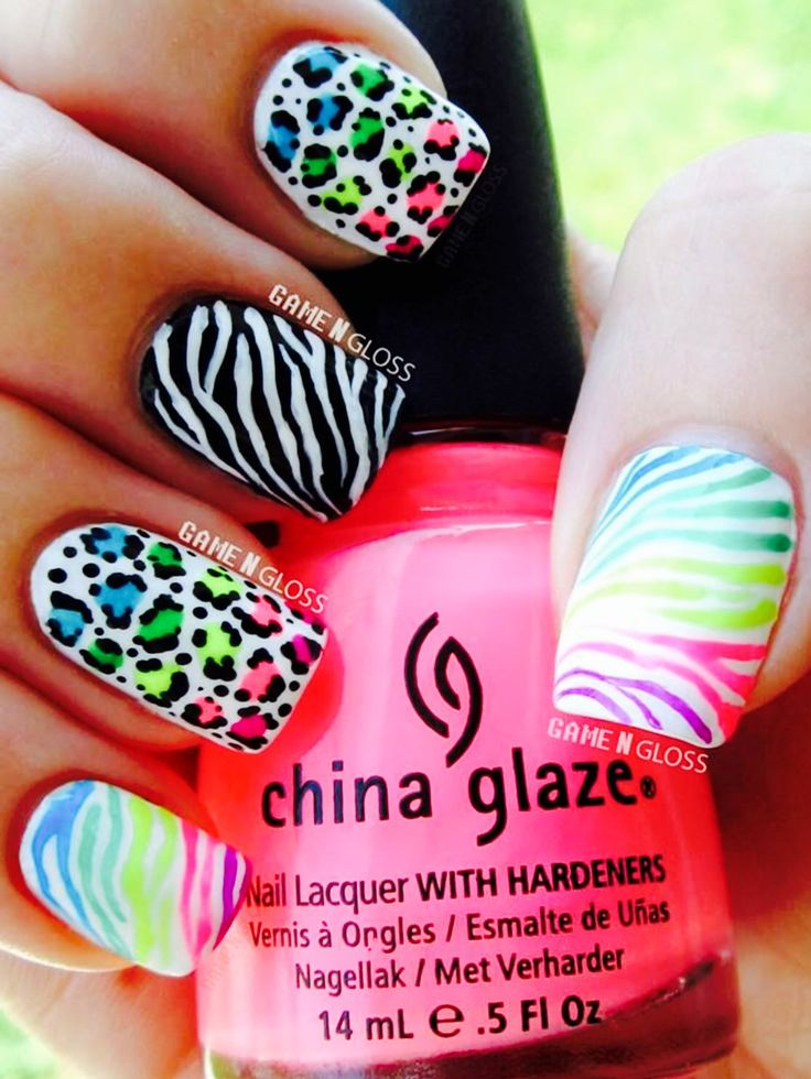 Bright little girl nails