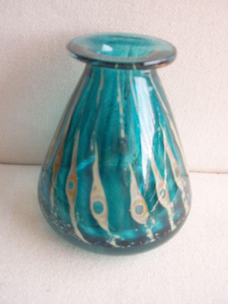 UNIKAT! Phoenician Malta Glass Pfauenaugen Glas Vase SIGNIERT! Glasvase um 1970