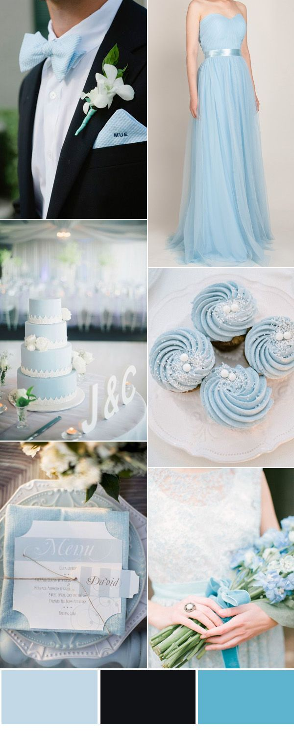 light blue and black wedding inspiration with bridesmaid dresses