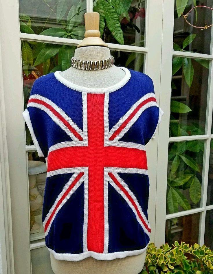 Forever 21 Sweater Union Jack UK Flag Oversize Fit Red White Blue 100% Cotton M  | eBay