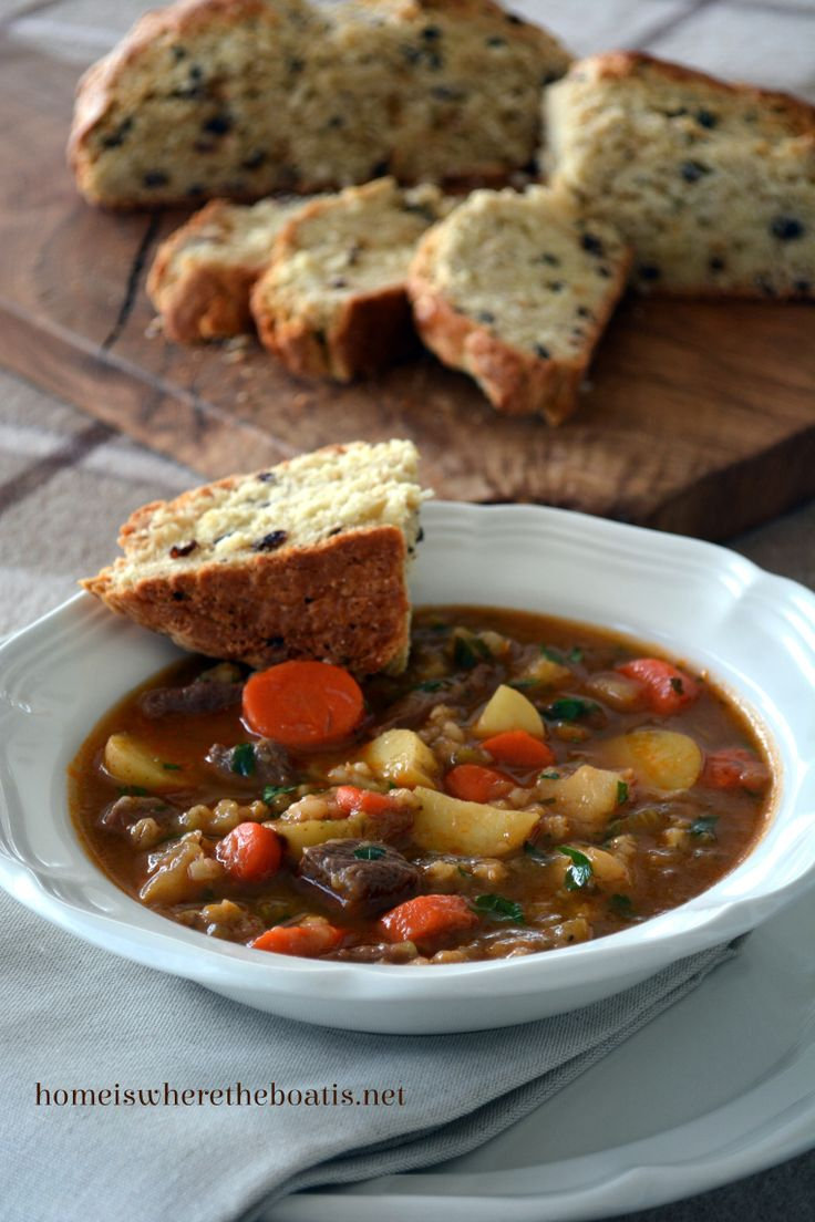 Irish Beef Stew with Irish Whiskey Soda Bread | homeiswherertheboatis.net  #StPatricksDay #recipe
