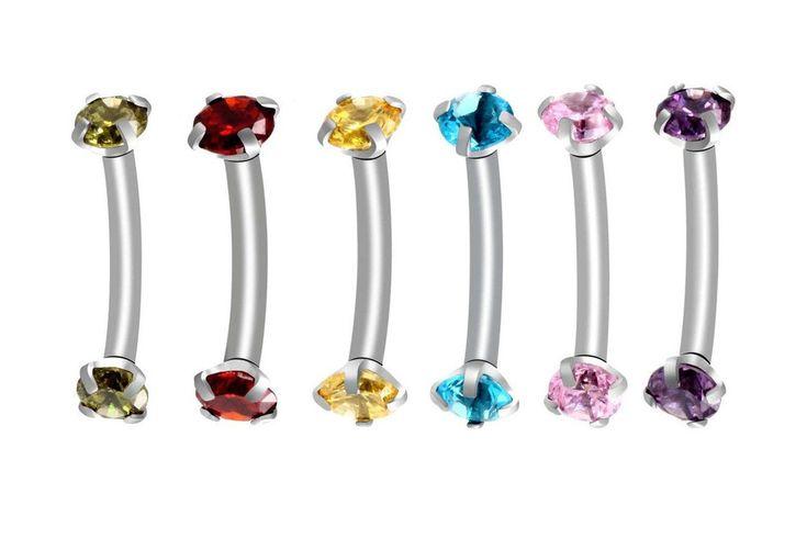 Alex Swarovski Internally Threaded Colored Crystal Curved 16G Barbell - Rook Piercing, Daith Earring, Lip Ring, Eyebrow Jewelry, Nipple Barbell at MyBodiArt.com