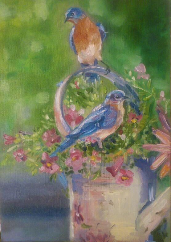 Птички. Birds  Картина маслом на холсте  Oil painting