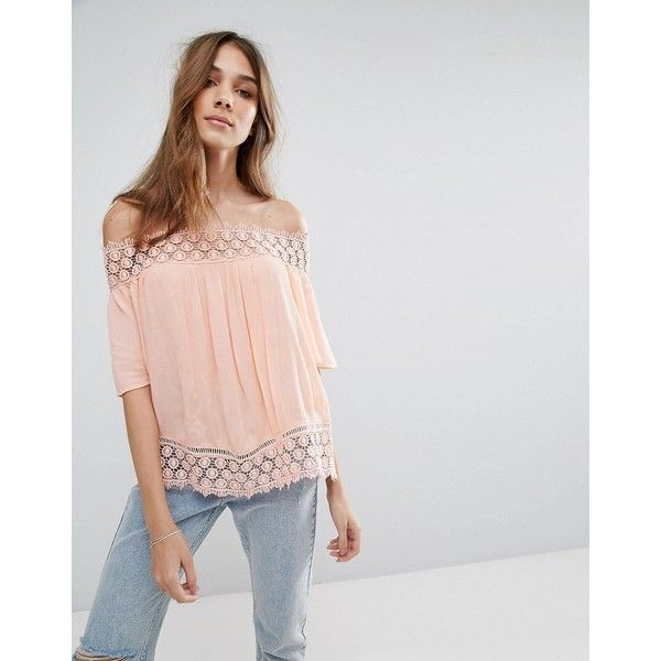 Miss Selfirdge Crochet Bardot Top ($37) ❤ liked on Polyvore featuring tops, orange, loose fitting tops, lace trim top, off shoulder tops, off the shoulder tops and textured top