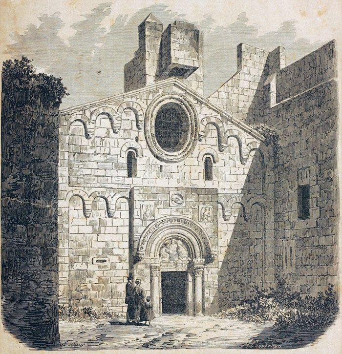 Gravat amb una imatge de Sant Pau del Camp    Tot i que està mutilat, el monestir de Sant Pau del Camp és un dels principals edificis romànics que conserva la ciutat de Barcelona. Vista de la façana de l'església del monestir segons un gravat del segle XIX.