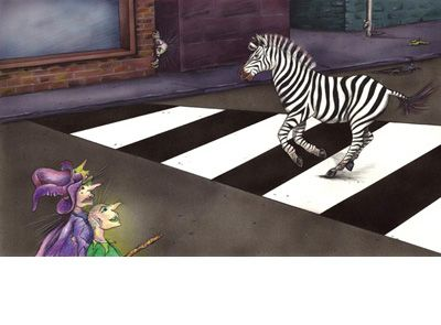 Signed limited edition print 'Zebra' by Michele Dodd from picture book 'Cats, Bats & Witches Hats'. Available at Books Illustrated. http://www.booksillustrated.com.au/bi_prints_indiv.php?id=56&image_id=307