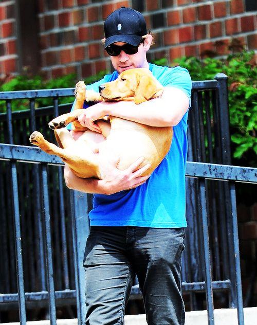 John Krasinski & pup.  I love him even more.