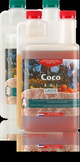 Coco 2 5 liter combo A + B Canna Coco is a 2 part nutrient formulated for use with coconut substrate. It contains natural compounds, humic and fulvic acids through which the plant can absorb all the nutrients. It comes in a convenient 5 liter combo pack that includes part A+B. #canadianwholesalehydroponics