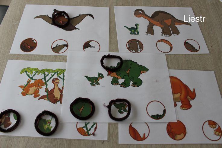 Zoekpuzzels thema dinosaurussen. Leg het cirkeltje op de juiste plaats *liestr*