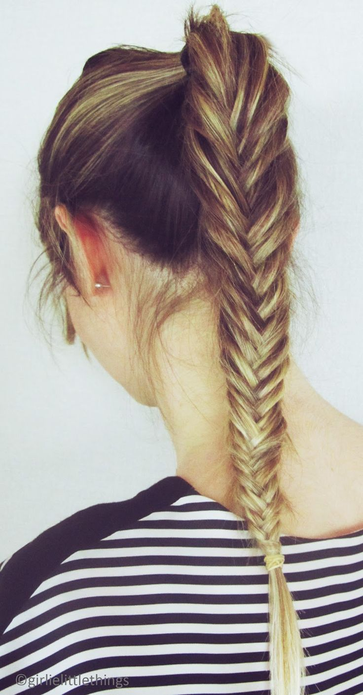 Fishtail--these are surprisingly easy to do. Admittedly, I haven't quite mastered it on my hair, but I love the style (and there's only a few weeks of long hair in my future anyway!)