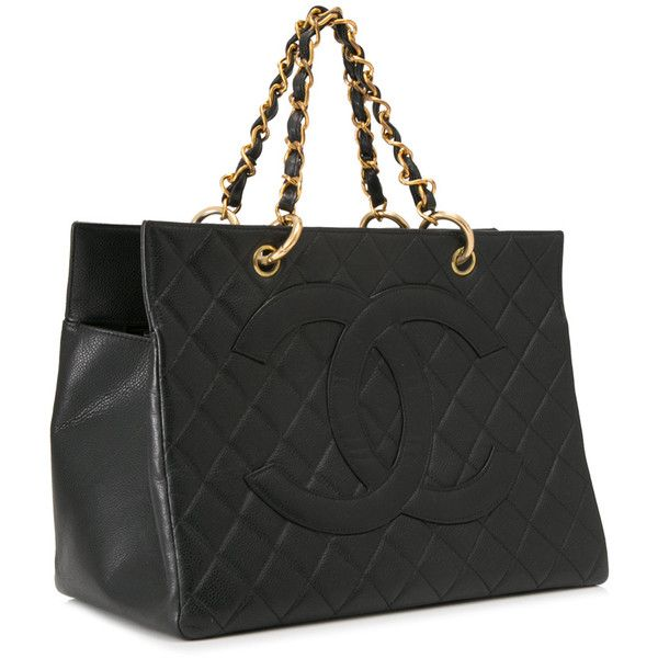 Pre-owned Chanel Quilted Caviar Leather Tote ($3,377) ❤ liked on Polyvore featuring bags, handbags, tote bags, chanel tote bag, leather purses, tote purses, leather totes and leather tote handbags