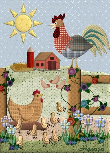 ACEO Graphic Painting Hen and Rooster Farm by Taiga91 on Etsy