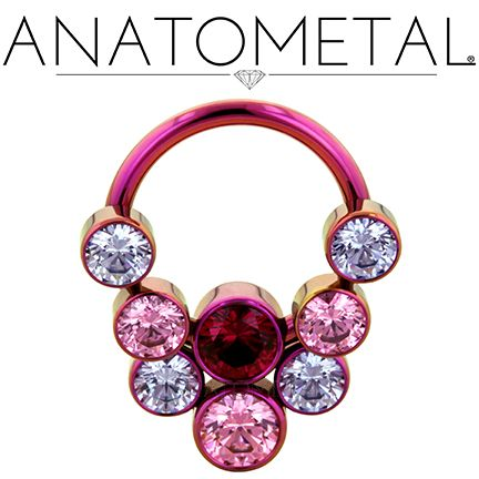 14ga Front Facing Circular Barbell with Captive Gem Cluster in ASTM F-136 titanium, anodized fuchsia: Lavender CZ, Salmon Pink CZ, and synthetic Ruby gemstones