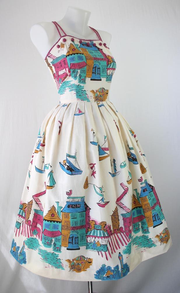 50s Dress Vintage Novelty Print Sundress English Boston Seaside Village Shops Boats Cotton CUTE Vintage 1950s Dresses