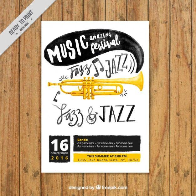Watercolor cartaz festival de jazz Vetor grátis