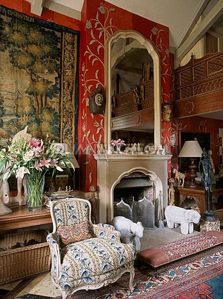 Room of the Day ~ red English sitting room with tapestry and plethora of patterns 7.4.2014