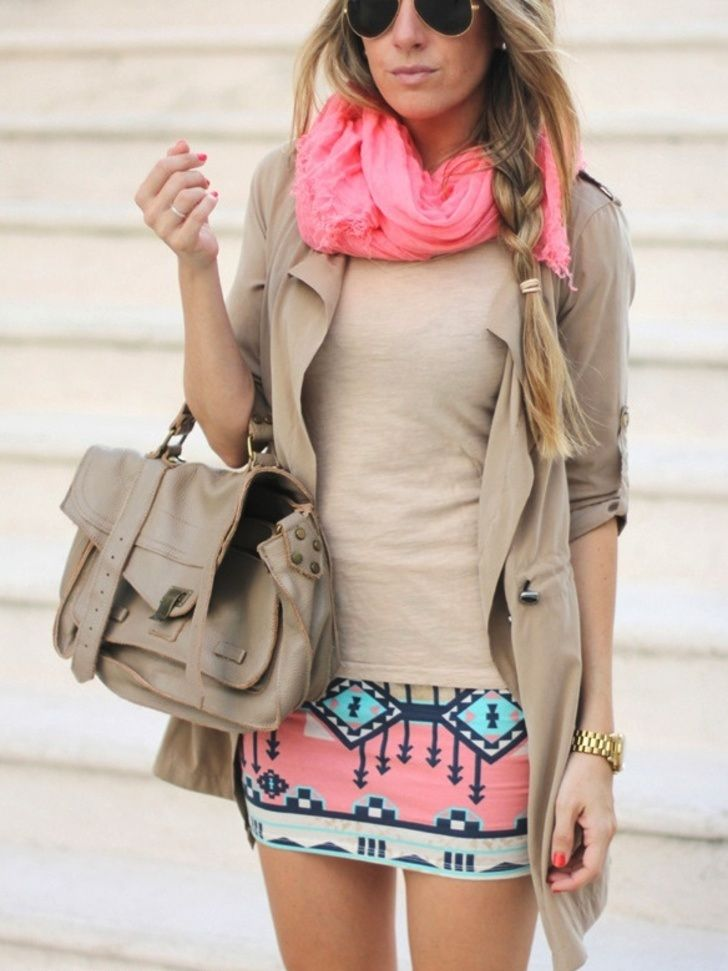 Stylish outfit with tribal skirt and pink scarf | FUN AND FASHION HUB