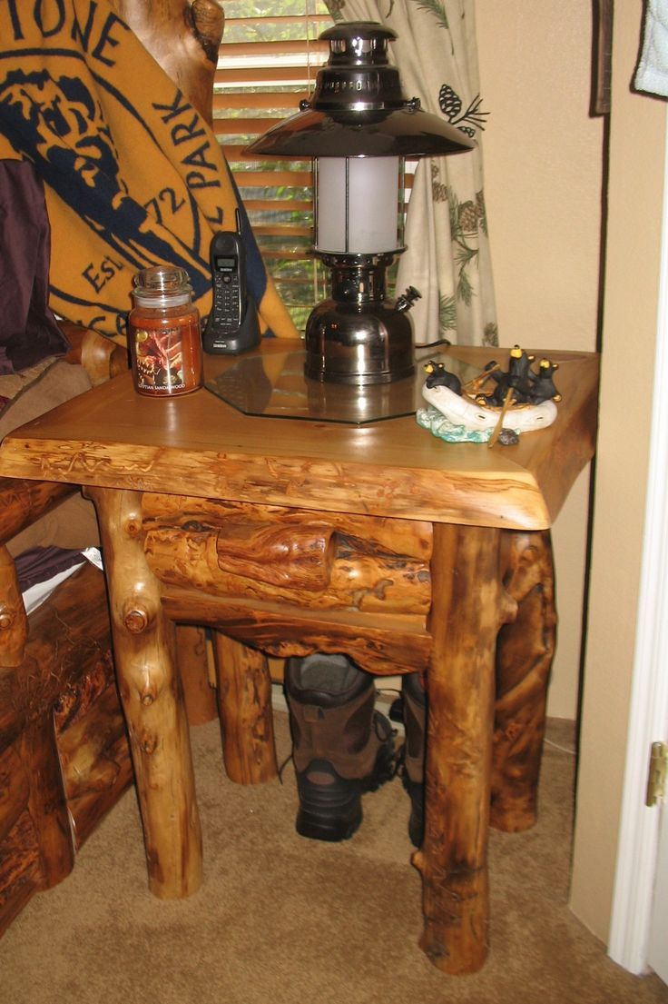 Our Beautiful 1 Drawer Nightstand From JHE Log Furniture Place.