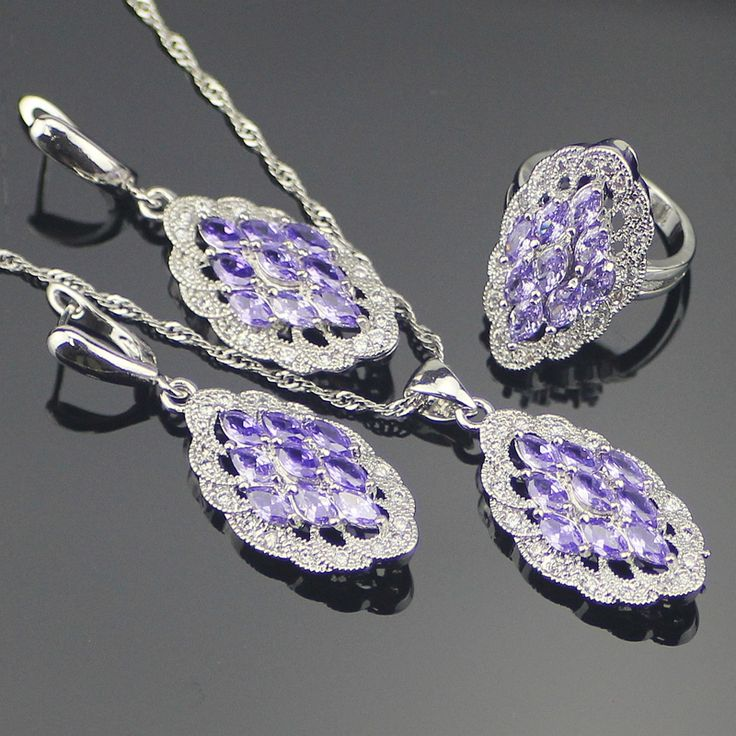 Hot Sale Purple Amethyst White Created Topaz 925 Sterling Silver Jewelry Sets For Women Necklace Pendant Ring Earring Free Box