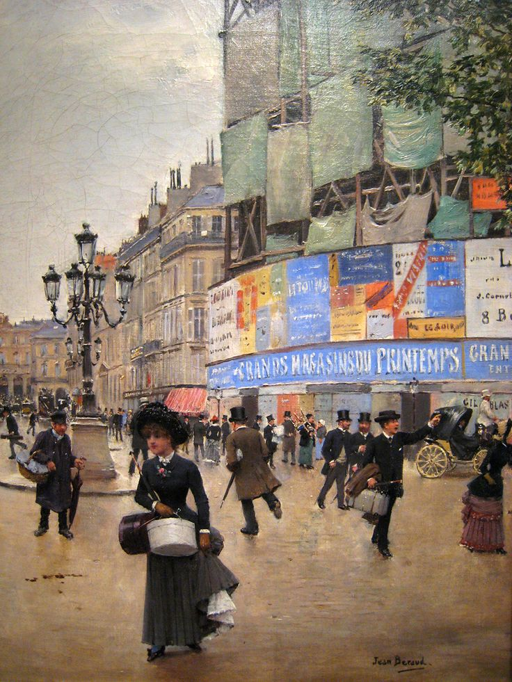 """Jean Béraud (1849 – 1935) was a French Impressionist painter and commercial artist noted for his paintings of Parisian life during the Belle Époque. ~ """"Rue du Havre, Paris"""""""