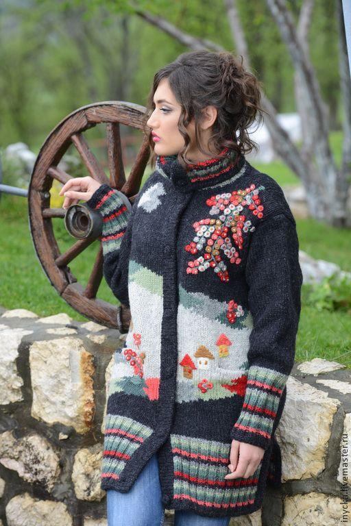 Купить Пальто ввязаное 14WJ21 - рисунок, вязаное пальто, шерстяное пальто, орнамент, домики, деревня