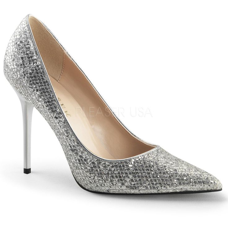 Pleaser CLASSIQUE-20 Silver Glittery Lame Fabric Pointed-Toe Pumps