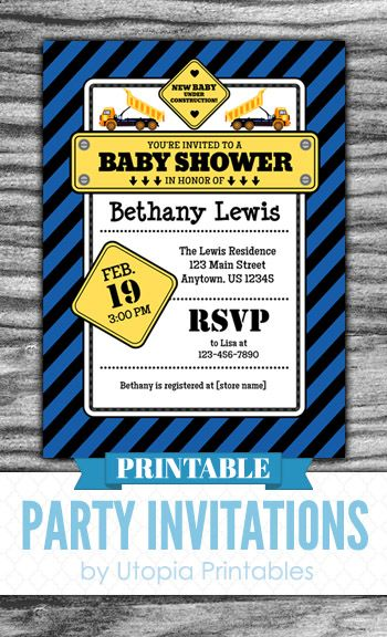Printable Under Construction boy baby shower invitation. Cute digital invite in blue and yellow with stripes and dump trucks. https://www.etsy.com/listing/243033056/blue-construction-baby-shower-invitation?ref=shop_home_active_8