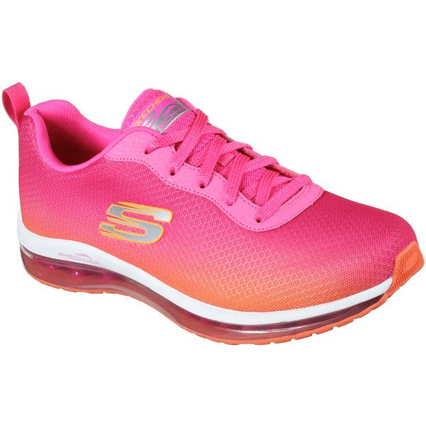 Skechers Women's Skech-Air Element Pink - Skechers featuring polyvore women's fashion shoes sneakers pink lace up shoes pink sneakers mesh shoes skechers trainers training sneakers