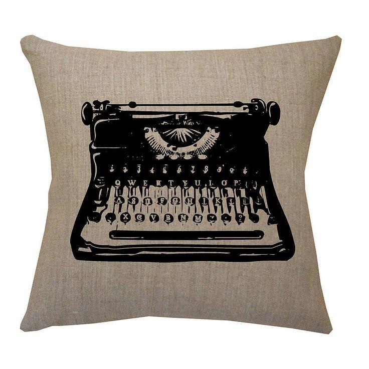 retro typewriter natural linen cushion by acacia design | notonthehighstreet.com