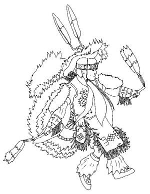 indians coloring page 23 - Native American Coloring Book