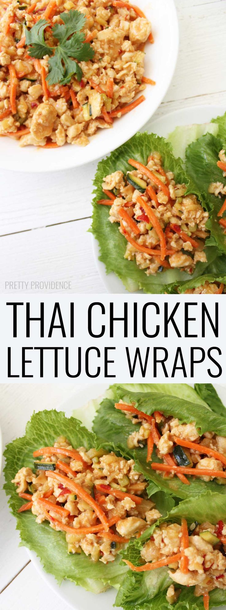 Thai Chicken Lettuce Wraps! These are super low cal, healthy and SO delicious! Perfect for busy nights or meal prepping for lunches throughout the week!