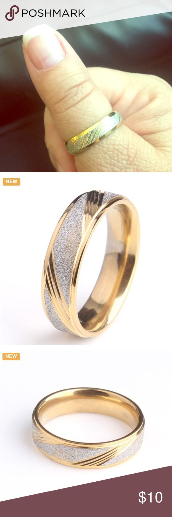 Brushed 316L Stainless Steel Gold Ring Band Brushed 316L Stainless Steel Matte Oblique Stripes - Stainless Steel is durable and will not turn your finger green - New! Accessories Jewelry