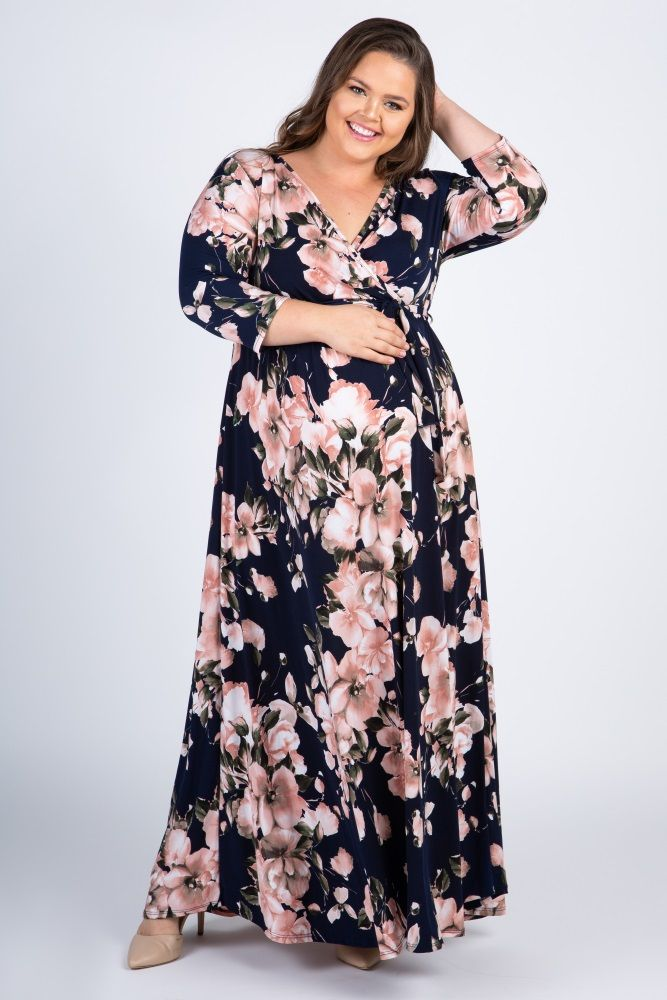 9b569e72aa4 Navy Blue Floral Plus Maternity Nursing Wrap Maxi Dress