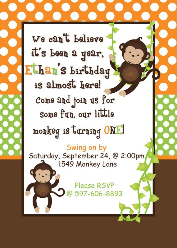 Best Monkey Invitations Ideas On Pinterest Safari - Birthday invitation wording for 1 year old baby girl