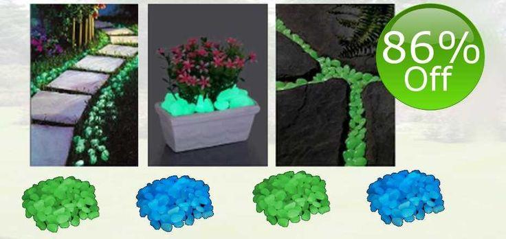 Pack of 300 Glow in the Dark Garden Pebbles