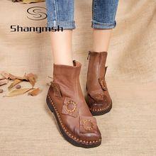 Shangmsh осень зима ботильоны для женщин ручной Квартира с Сапоги Кожаные Ботинки Ретро Ботинки снега ботинес mujer Женщины(China (Mainland))