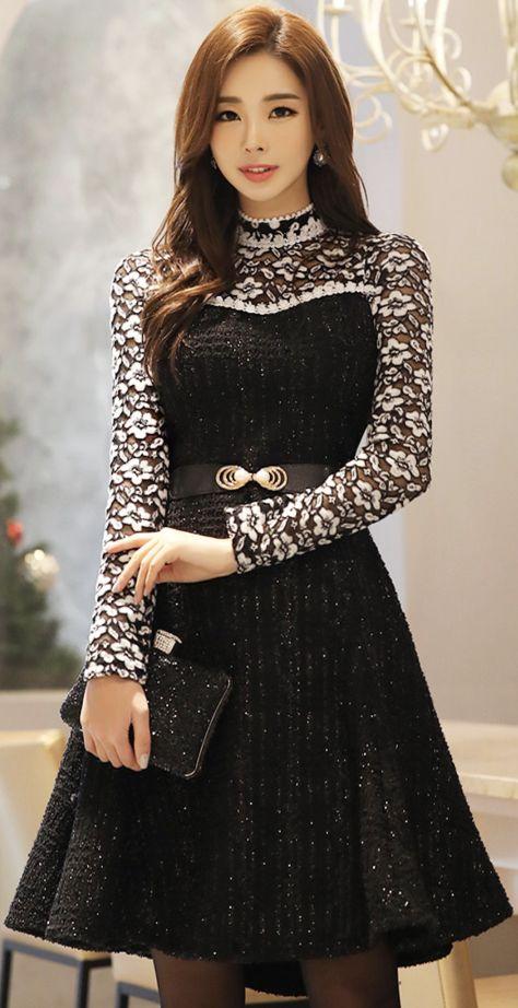 StyleOnme_Metallic Floral Lace Flared Dress #floral #lace #dress #feminine #elegant #koreanfashion #kstyle #kfashion #holidayready #partylook