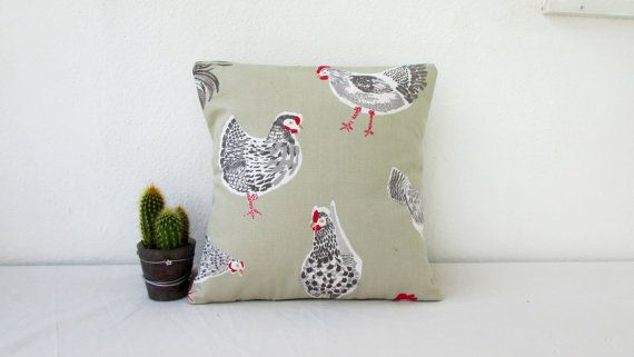 Hen cushion cover small pillow cover chicken by KimsHandmadeCave