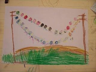 kindergarten - fingerprint birds
