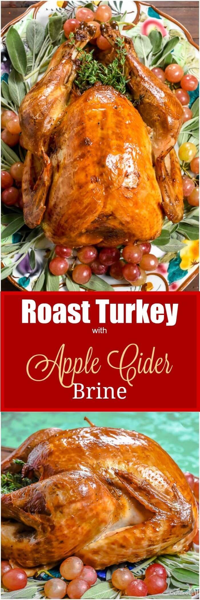 This Roast Turkey with Apple Cider Brine is a moist, juicy turkey for our Thanksgiving table. @honestturkey #honestturkey #700Reasons #ad via @flavormosaic
