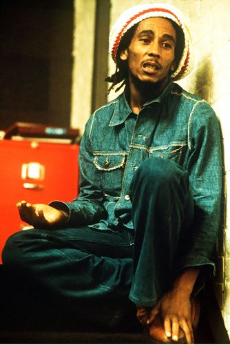 Bob Marley relaxes at Island Records in London during August 1975.