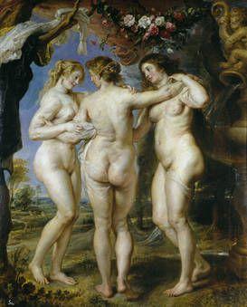 """Pedro Pablo Rubens, """"Las tres Gracias"""", 1630-1635, óleo sobre tabla, 220,5 x 182 cm"""